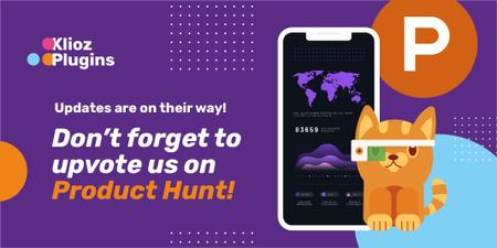 Product Hunt App with Stats on Screen Twitter Tasarım Şablonu