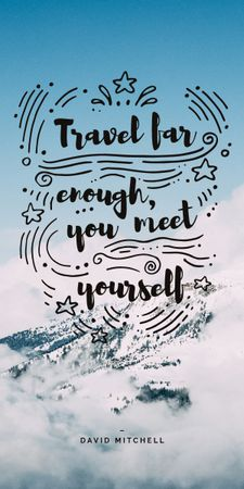 Travel Quote on Snowy Mountains View Graphic Modelo de Design
