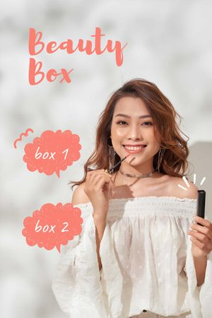 Attractive Woman with Beauty Box Tumblrデザインテンプレート