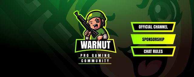 Kid in military uniform with Gun Twitch Profile Banner – шаблон для дизайну