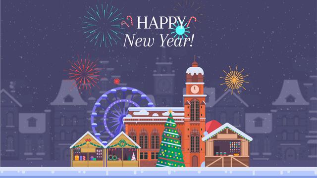 Plantilla de diseño de Fireworks over Christmas town Full HD video