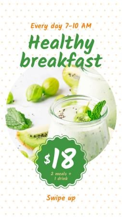 Plantilla de diseño de Breakfast Offer with Fruit Pudding Instagram Story