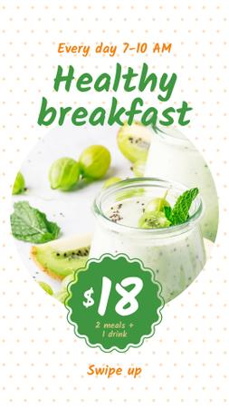 Template di design Breakfast Offer with Fruit Pudding Instagram Story