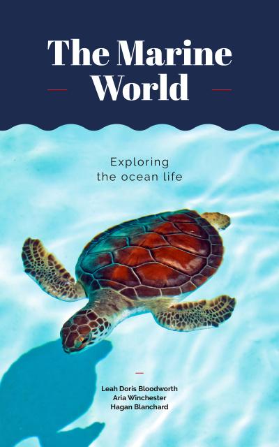 Wild Sea Turtle Swimming in Blue Book Cover – шаблон для дизайна
