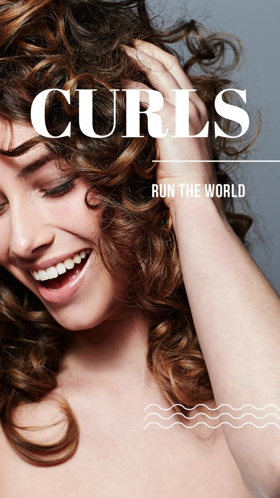 Curls Care tips with Woman with shiny Hair — Modelo de projeto