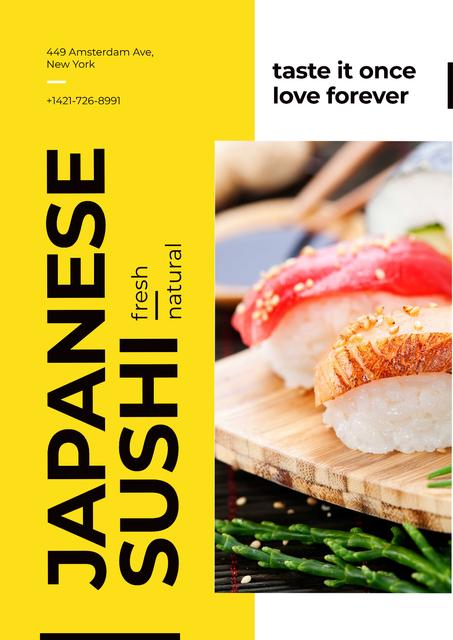 Japanese sushi advertisement Poster Modelo de Design