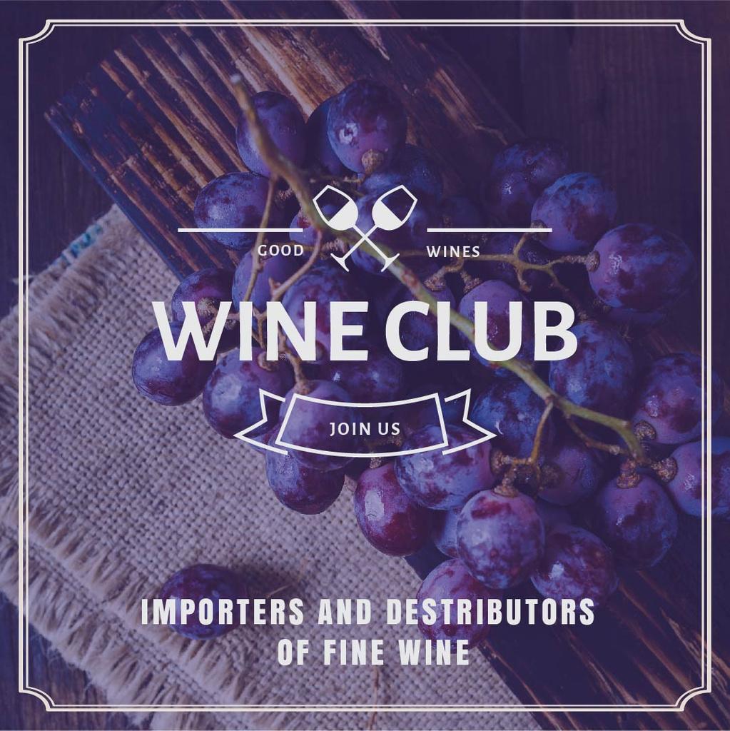 Wine club Invitation with fresh grapes — Crear un diseño