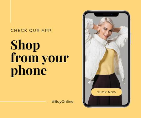 Template di design Online Shopping ad with Stylish Woman on screen Facebook