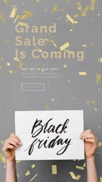 Black Friday Sale Placard in Hands Under Confetti | Vertical Video Template