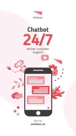 Template di design Online Customers Support Chat on Phone Screen Instagram Video Story