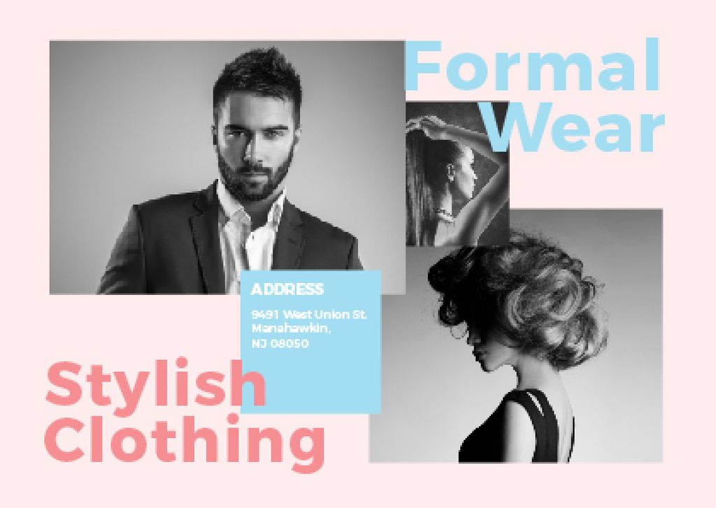 Formal wear store with Stylish People Postcardデザインテンプレート