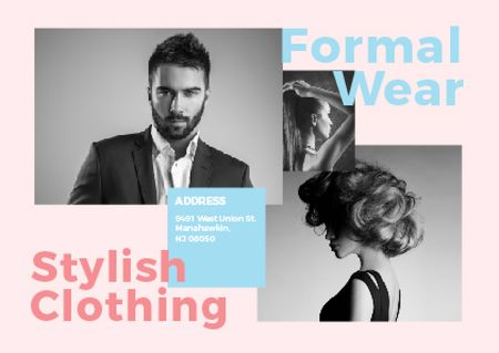 Template di design Formal wear store with Stylish People Postcard