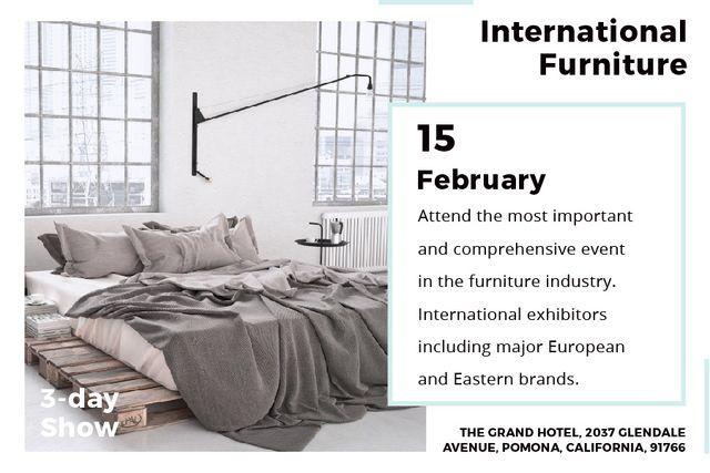 Plantilla de diseño de International furniture show Announcement Gift Certificate