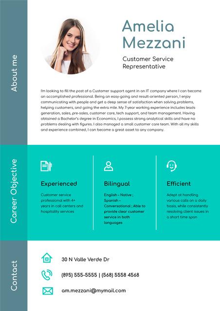 Customer Service Representative professional profile Resumeデザインテンプレート