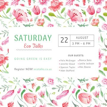 Ecological Event Watercolor Flowers Pattern