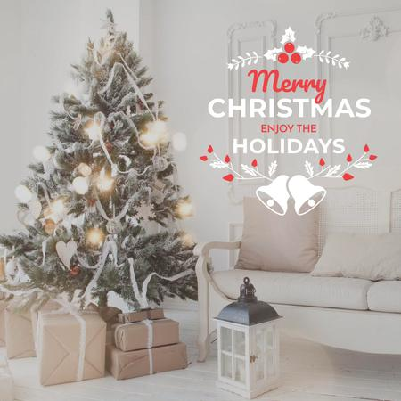 Plantilla de diseño de Merry Christmas Greeting with Christmas tree Instagram