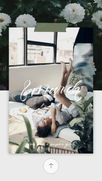 8 March Greeting Happy Woman Lying in Bed | Vertical Video Template