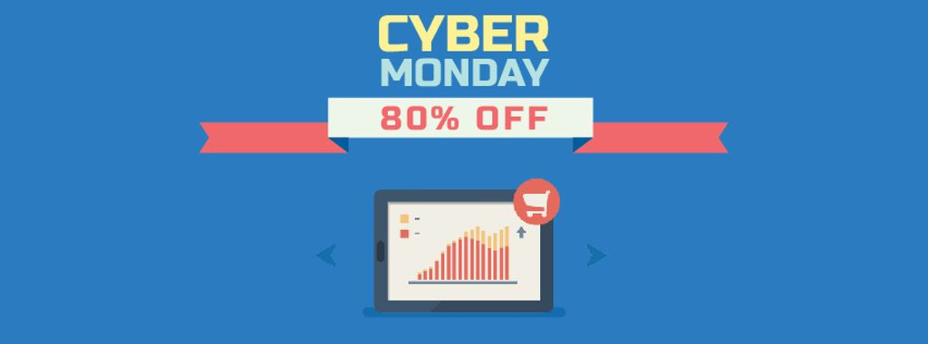 Cyber Monday Sale Digital Devices in Blue| Facebook Video Cover Template — ein Design erstellen