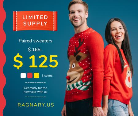 New Year Offer Couple in Sweaters with Deer Facebook Tasarım Şablonu