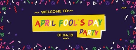 April Fools Day Party Annoucement Facebook coverデザインテンプレート