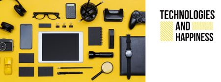 Modern gadgets on Yellow Facebook cover – шаблон для дизайна