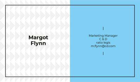 Marketing Manager Contacts with Geometric Pattern in Blue Business card Tasarım Şablonu