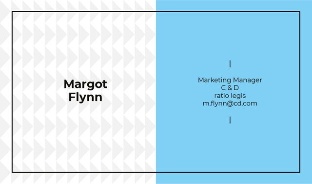 Marketing Manager Contacts with Geometric Pattern in Blue Business cardデザインテンプレート
