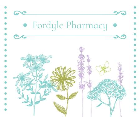 Pharmacy Ad with Natural Herbs Sketches Facebook Modelo de Design