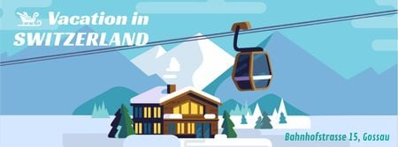 Cable car at mountains resort Facebook Video cover – шаблон для дизайна