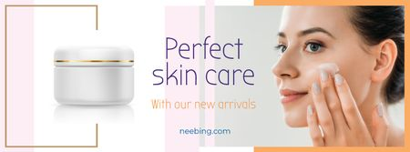 Woman applying face cream Facebook cover Modelo de Design