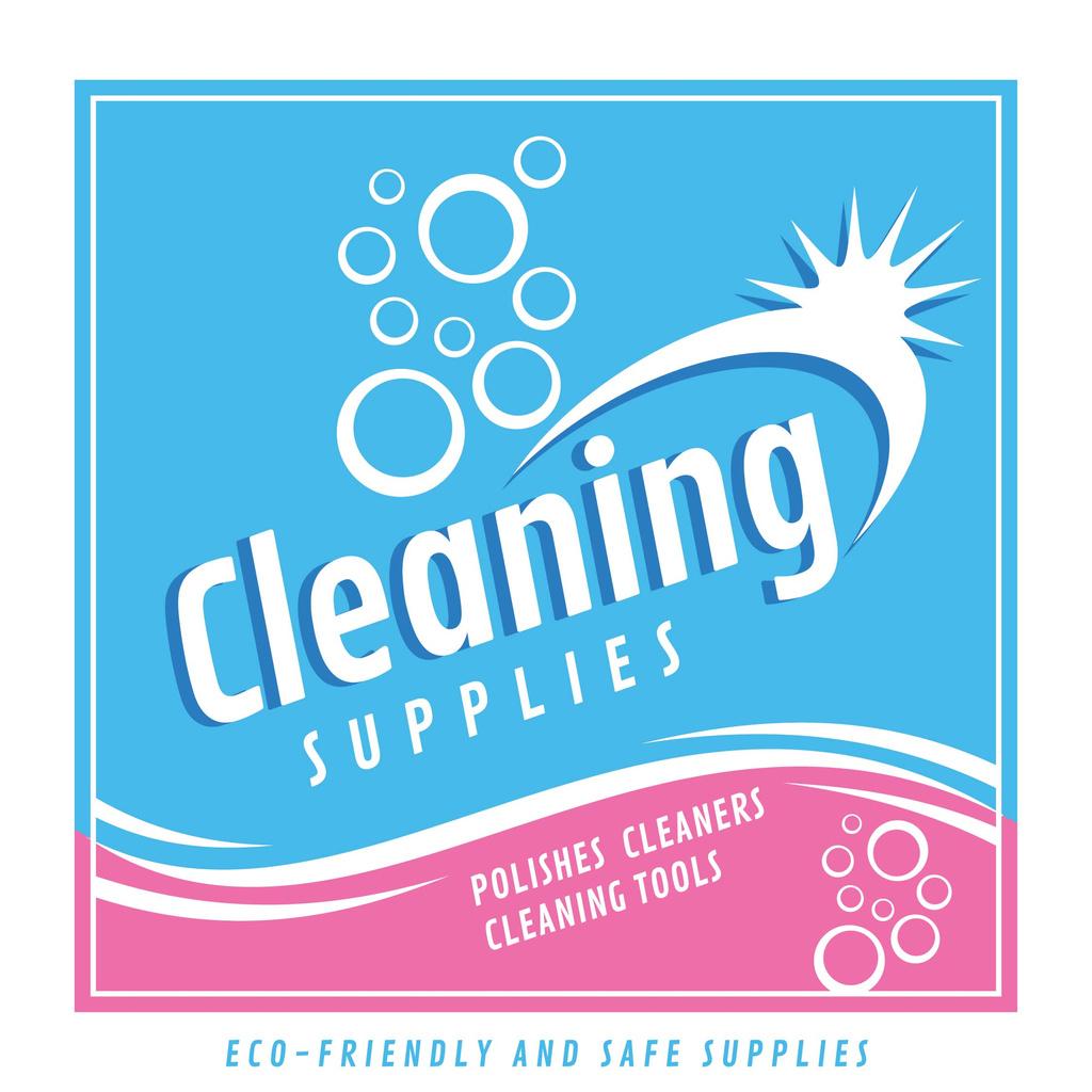 Cleaning Supplies Ad bubbles in blue — Crear un diseño
