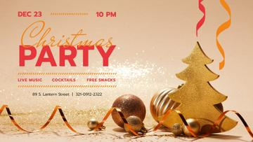 Christmas Party invitation with Golden Decorations