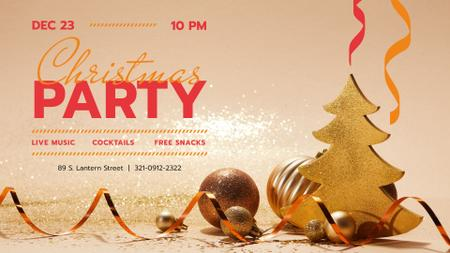 Ontwerpsjabloon van FB event cover van Christmas Party invitation with Golden Decorations