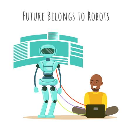 Man programming robot Animated Post – шаблон для дизайна