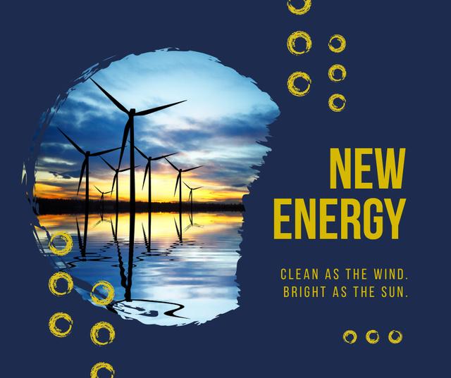 Wind turbines farm in sea Facebook Modelo de Design