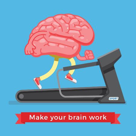 Brain running on treadmill Animated Post Modelo de Design