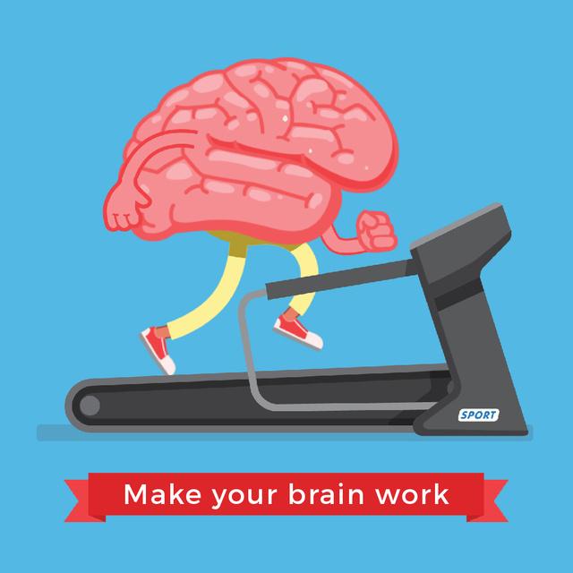 Plantilla de diseño de Brain running on treadmill Animated Post