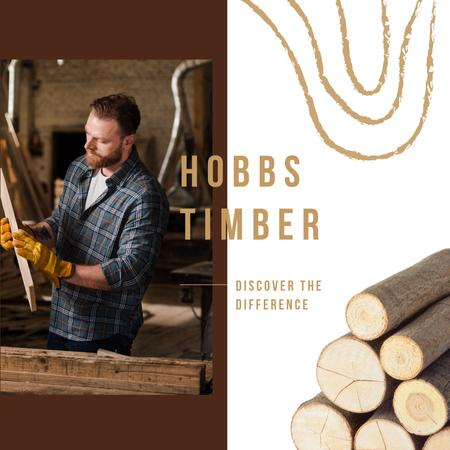 Plantilla de diseño de Timber Ad Craftsman Working with Wood Instagram AD