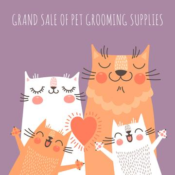 Pet grooming supplies sale with Funny Cat family