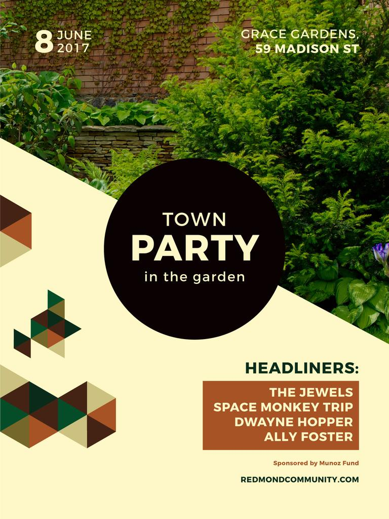 Town Party in Garden invitation with backyard — Créer un visuel