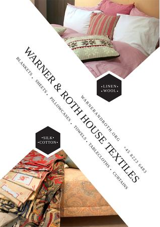 Home Textile Offer with Cozy bedroom Posterデザインテンプレート