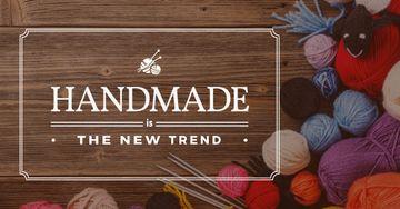 handmade workshop banner with yarn