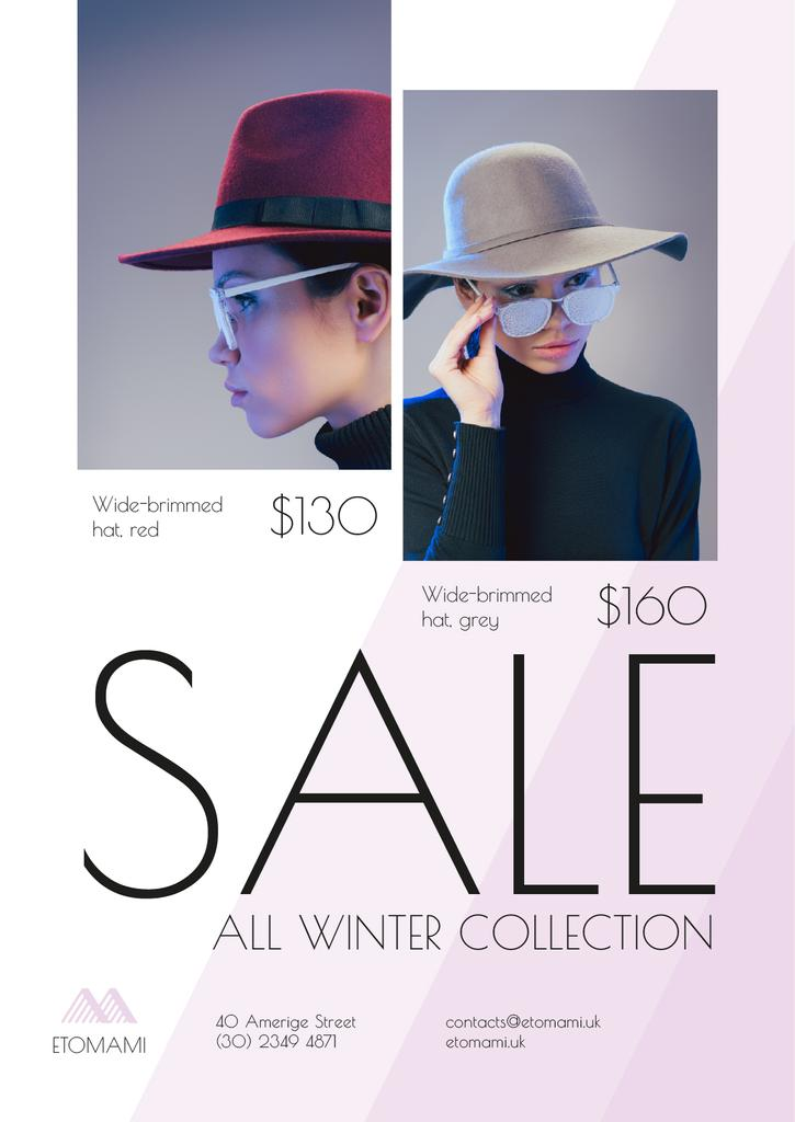Seasonal Sale with Woman Wearing Stylish Hat — Створити дизайн