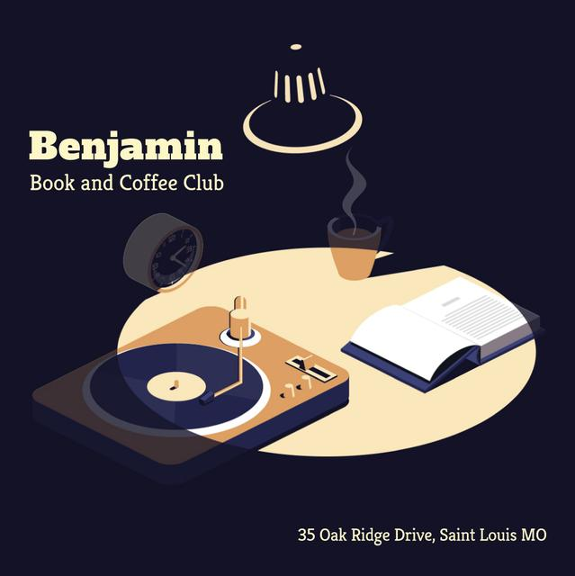Vinyl player and book on table Animated Post Design Template