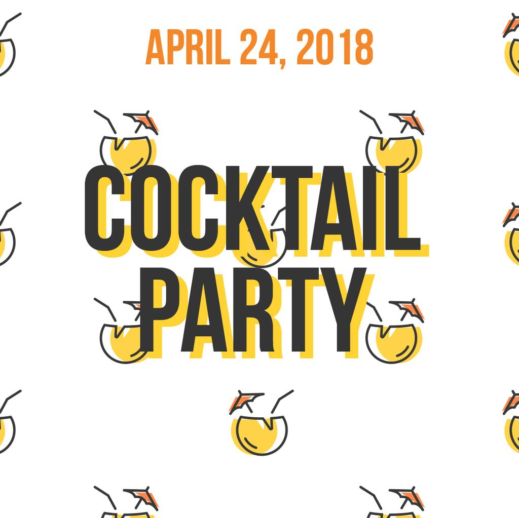 Summer Cocktails Party Icons in Yellow | Square Video Template — Создать дизайн