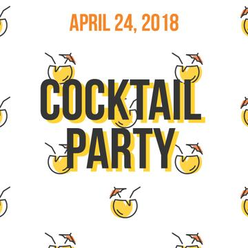 Summer Cocktails Party Icons in Yellow | Square Video Template