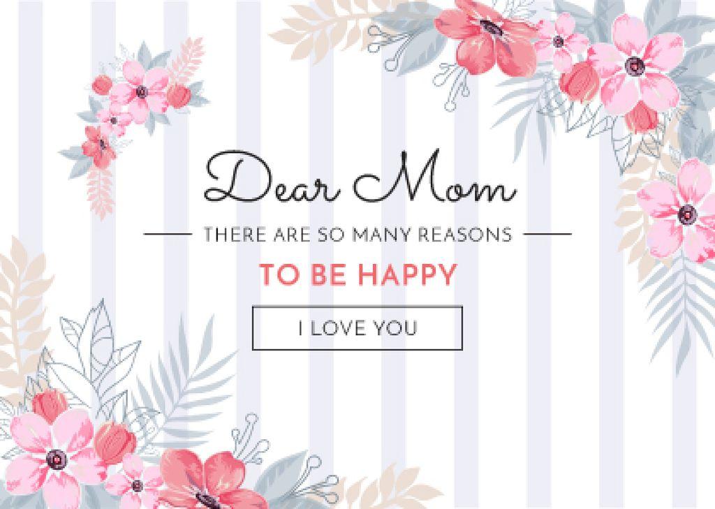Happy Mother's Day Greeting in Pink Flowers — Modelo de projeto