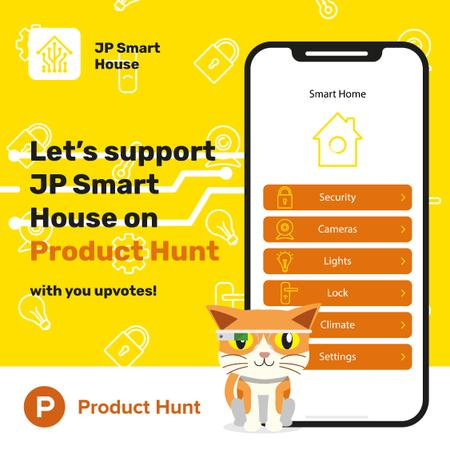Product Hunt Launch Ad with Smart Home App Animated Postデザインテンプレート