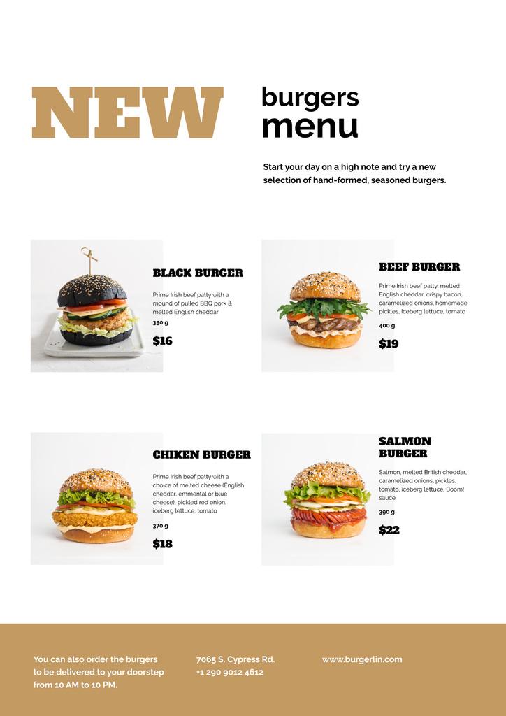 Variety of delicious Burgers — ein Design erstellen