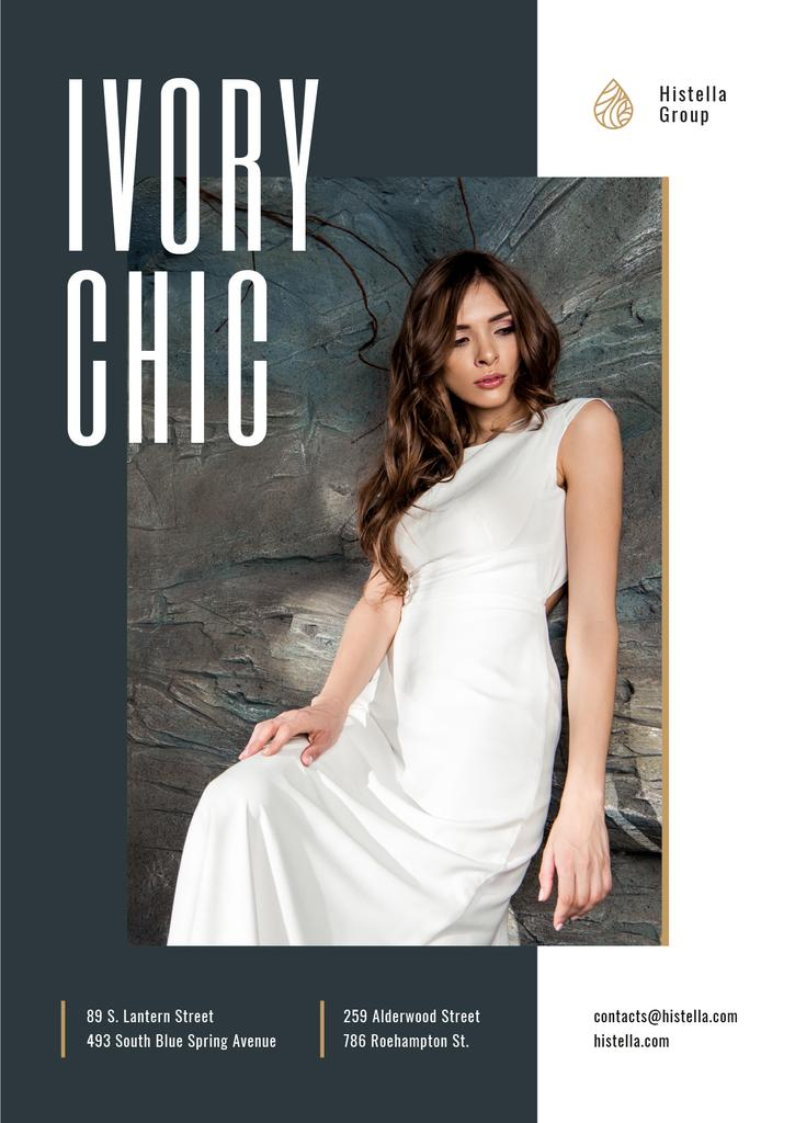 Young Woman in Tender white Dress —デザインを作成する